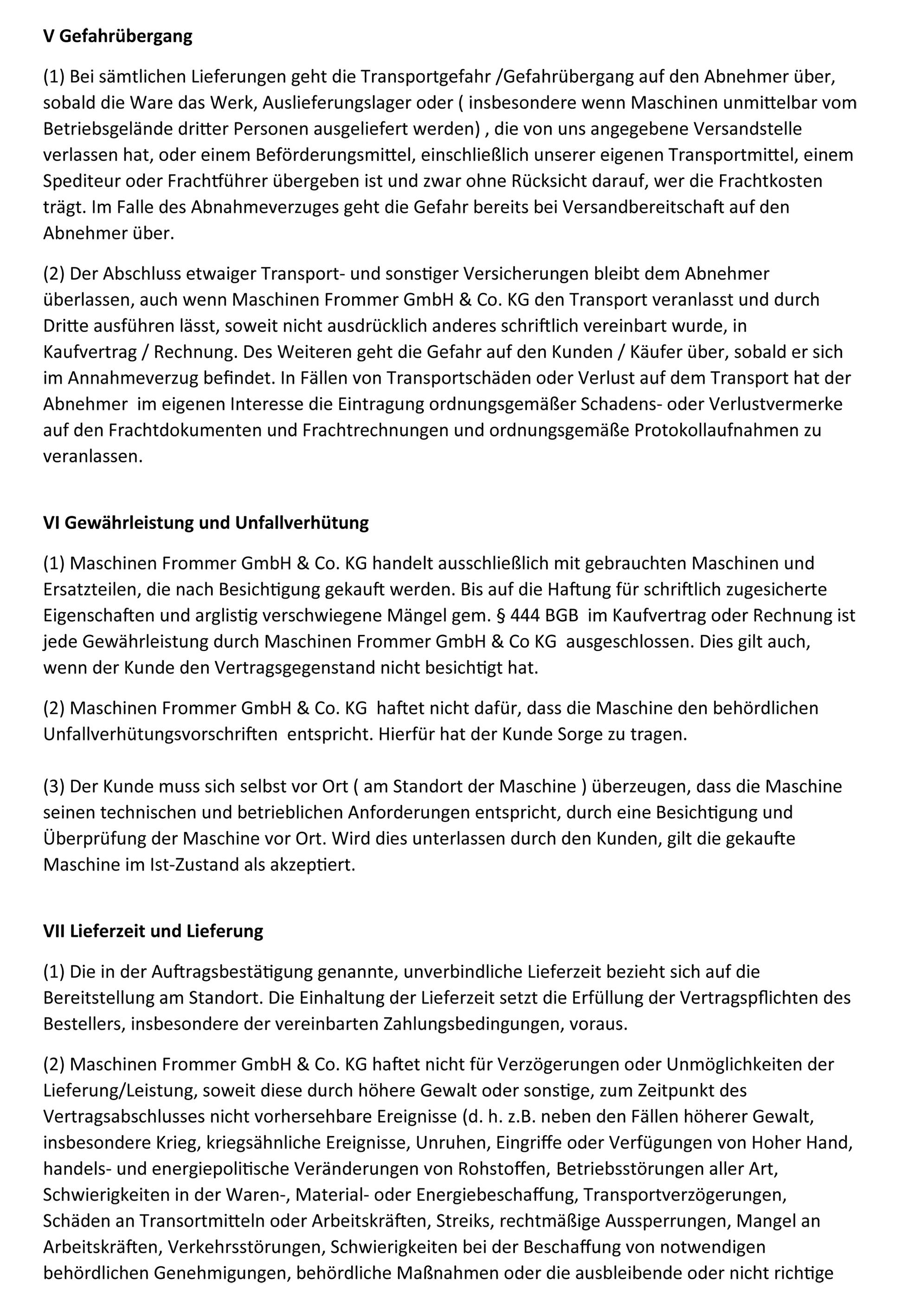 Gebrauchte Maschinen und Geräte in Windhagen kaufen – AGB